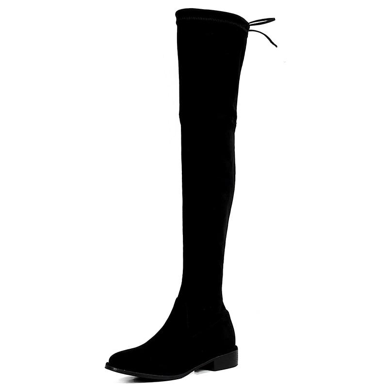 2017 Qualité Tube Féminine Femme Élégant En Cuisse Chaussures Confort Noir Long Cuir Plates Nouvelle Haute Mode Bottes Daim C7w1q6