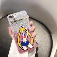 Guokos Zachte TPU Glitter Shine Cartoon Sailor Moon Telefoon Gevallen Voor iPhone X 10 8 7 6 6 S Plus Leuke Mooie Beschermende Shell Covers