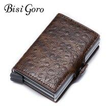 Bisi Goro 2019 RFID Credit Card Holder Aluminium Double Box Fashion Men And Women Metal Vintage Travel Wallet Dropshipping