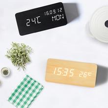 Ganxin Горячая управление звуками деревянные часы современный электронный Мультифункциональный Деревянный цифровой светодиодный Настольный будильник с термометром времени