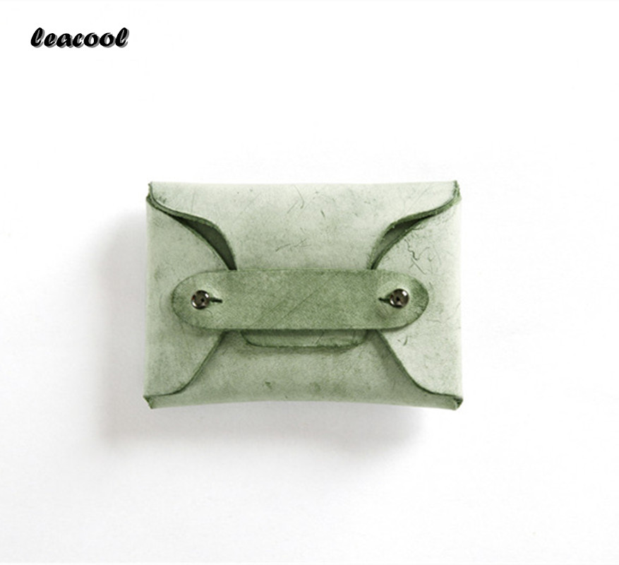 LEACOOL 2017 Spary Wax Handmade Creative Coin Purse Genuine Leather Spinner Card Organizer Mini Small Women Coin Bags 5 Color