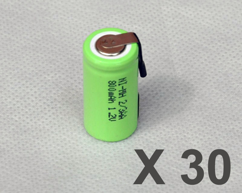 30PCS 1.2V 2/3AA rechargeable battery 800mah 2/3 AA ni-mh nimh cell with tab pins for electric shaver razor toothbrush