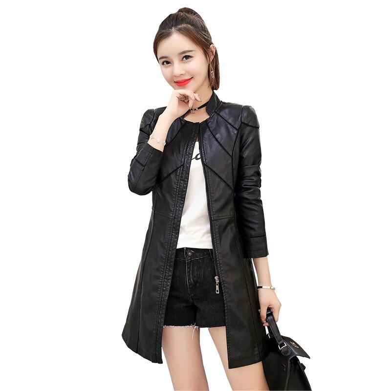 women Fake   leather   jacket 2018 autumn new medium long female fake   leather   jacket Slim Large size ladies PU   leather   coat cw478