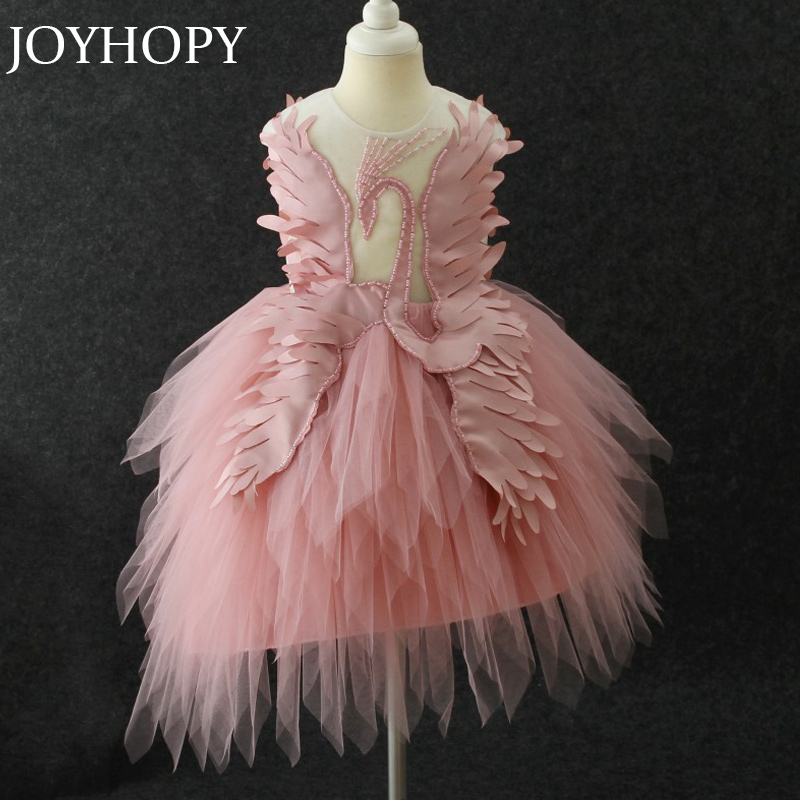 High Quality Kids Dress for Girls Wedding Swan Design Girl Dress Elegant Princess Party Pageant Formal