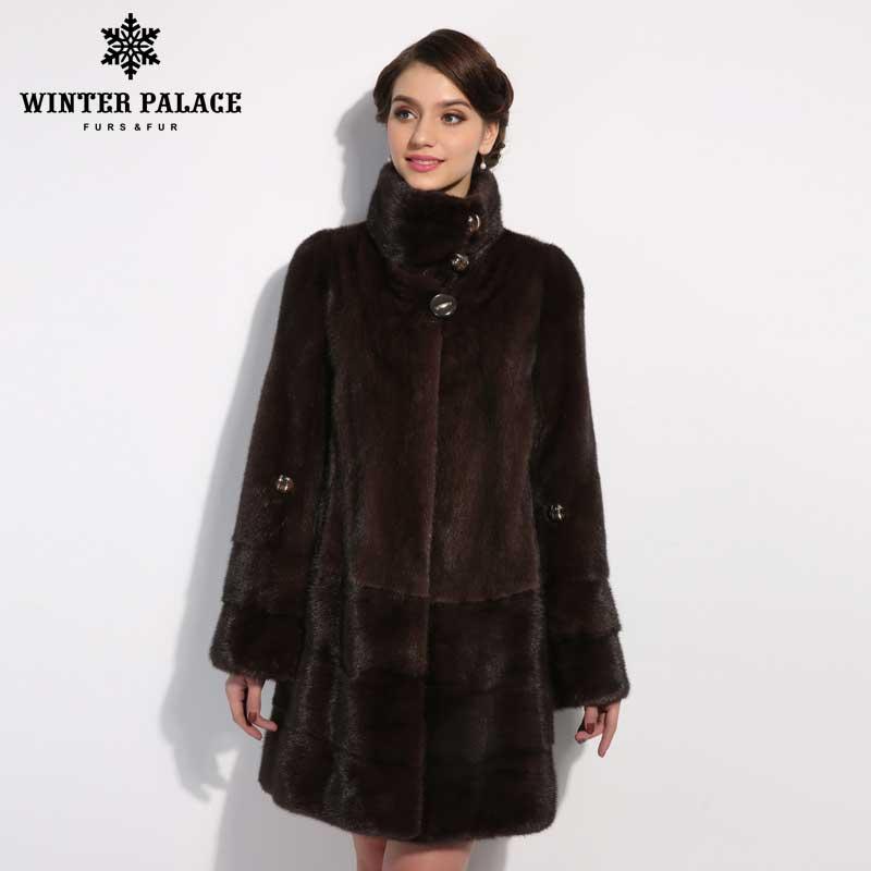 WINTER PALACE New style fashion fur cat Genuine Leather Mandarin Collar good quality mlnk fur coat