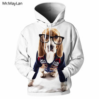 3D Male Hoodies Animal Dog Wear Eyeglass 3D Printed White Casual Sweatshirts Tracksuits Fashion New Hooded Hip Pullovers Jacket