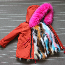 Children Winter Coats with multi fur liner Parkas Faux Fox Fur Jackets for girls Toddle Zipper Hoodies Girls Detachab Outfits