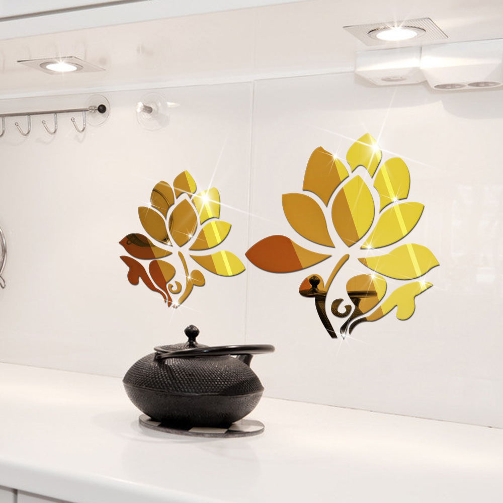 3d lotus flowers mirror wall mirror stickers for wall decoration 3d lotus flowers mirror wall mirror stickers for wall decoration diy home decor wall decal autocollant mural vinilo pared in wall stickers from home