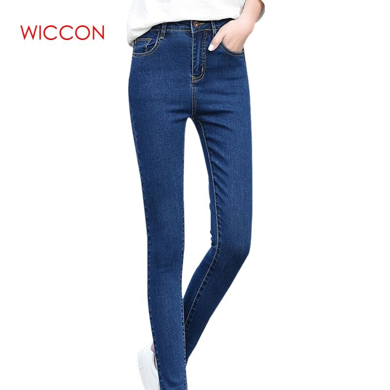 a56b2a968d3 WICCON Джинсы женские стрейч однотонные джинсы женские 2019 джинсовые узкие  брюки Узкие женские джинсы с высокой талией женские джинсы пуш-ап