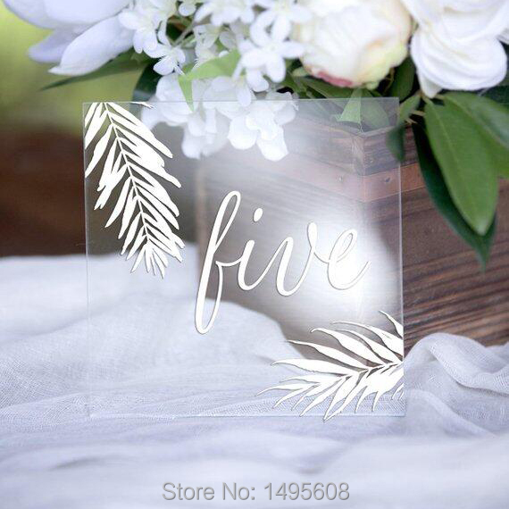 Tropical leaf table numbers ,White printed Standing Table Cards,Clear Acrylic table numbers Decoration, table Centerpieces gifts