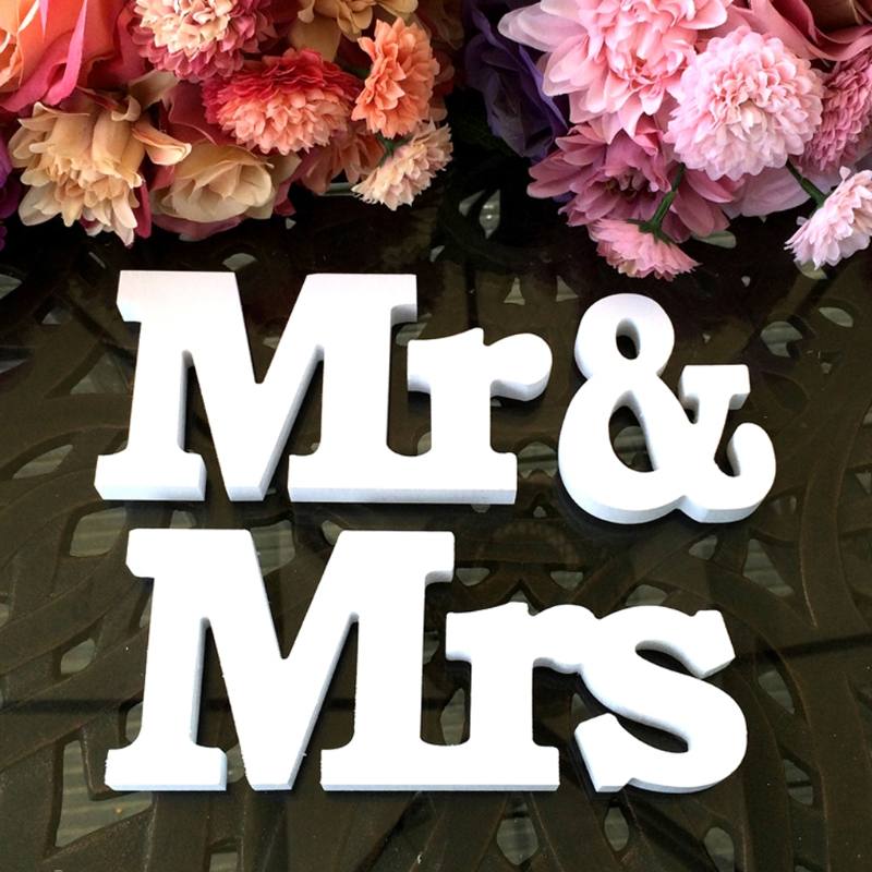 Boda creativa Mr & Letras Mrs de madera en blanco signo para Decoración de mesa de corazón DIY decoración boda artesanía suministros