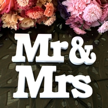 Creative Wedding Mr & Mrs White Wooden Letters Sign For Sweetheart Table Decor DIY Decoracion Boda Craft Supplies