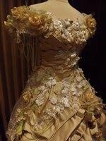 ПОЛЬЗОВАТЕЛЬСКИЕ Ручной Персик Крем Викторианской Свадебные Мини Передняя Платье Кружева Розы Искусственный Жемчуг Платья