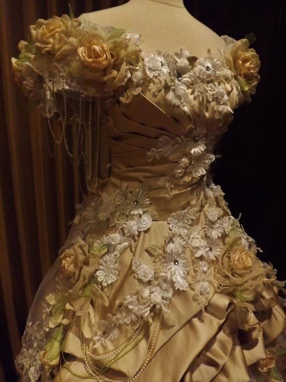CUSTOM Handmade Peach Cream Victorian Wedding Mini Front Dress Lace Roses Faux Pearls Dresses