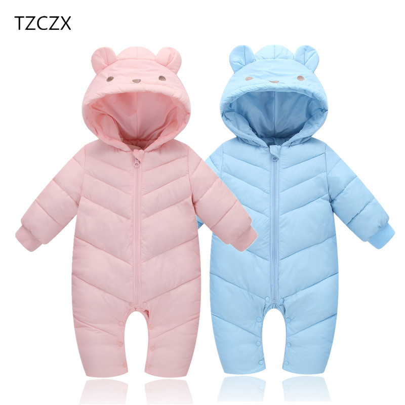TZCZX 1pcs New Winter Baby Girls Boys Children Solid Thick cotton Hooded Jumpsuit For 6 Month to 3 Years Old Kids Wear Clothes king double kyn a3t 3 zirconia ceramic paring knife w sheath yellow white