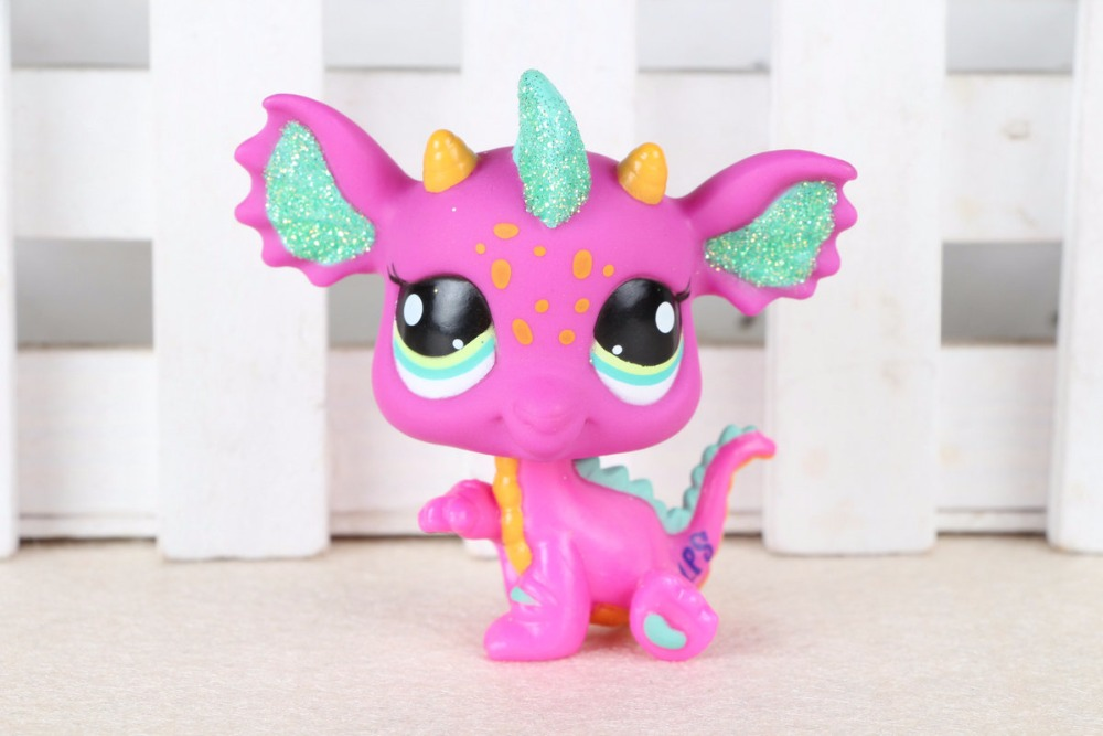 New pet Genuine Original LPS #2663 Pink Green Sparkle Dragon Yellow Blue Eyes Kids Toys new pet genuine original lps 58 brown collie dog puppy blue eyes lps kids toys