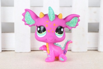 New pet Genuine Original LPS 2663 Pink Green Sparkle Dragon Yellow Blue Eyes Kids Toys