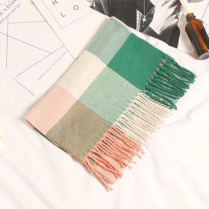 Осенне-зимний детский шарф, британский клетчатый высококачественный теплый мягкий шарф из искусственного кашемира, модный шарф для мальчиков и девочек - Цвет: TG-422 pink green