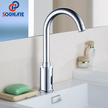SOGNARE Basin Bathroom Faucet Automatic Infrared Hands Touch Free Sensor Faucets Hot Cold Mixer Battery Power Bath Sink Tap D214