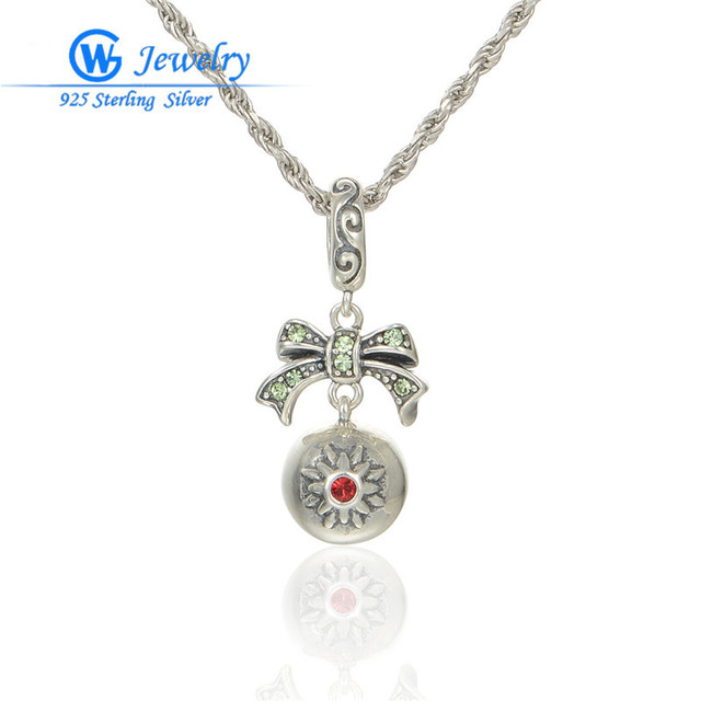 Retail Wholesale Factory Price 925 Sterling Silver Crystal Bowknot Pendant For Women Fits Statement Necklace & Bracelets S238H20