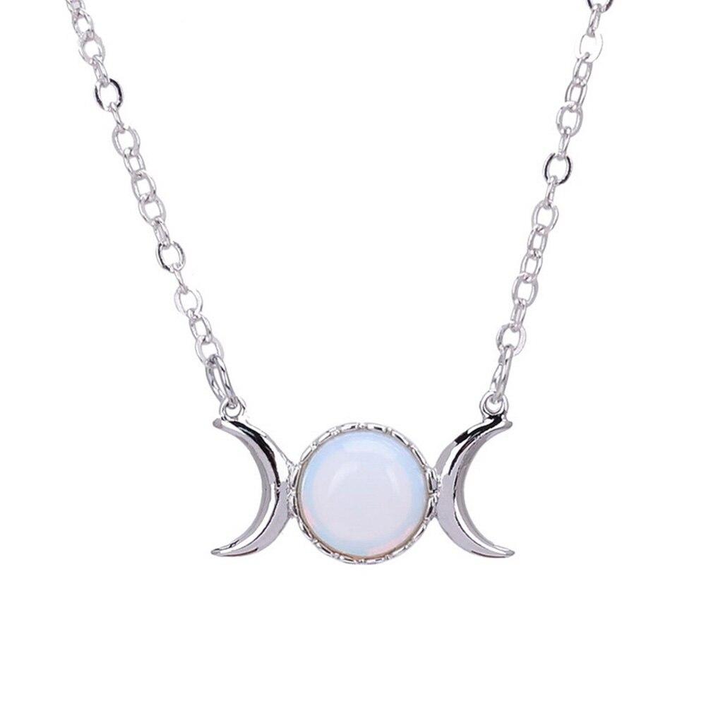 1 Stück Frauen Crescent Moon & Sun Anhänger Halskette Silber Farbe Kette Kristall Sailor Natürliche Stein Opal Halskette Halsband Schmuck Phantasie Farben