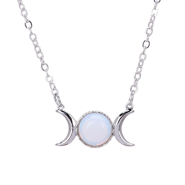 1PC Women Crescent Moon&Sun Pendant Necklace Silver Color Chain Crystal Sailor Natural Stone Opal Necklace Choker Jewelry