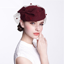 Fascinator Hats for Women Fedora Black Red Autumn Winter Veil Wool Felt Pillbox Hat Formal Cocktail Party Wedding