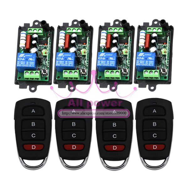 220V 10A 1CH RF Wireless Remote Control Power Switch Receiver 4pcs with 4-Button Waterproof Transmitters 4pcs 2pcs receiver transmitters with 2 dual button remote control wireless remote control switch led light lamp remote on off system