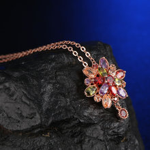 Fashion Women Genuine AAA Cubic Zirconia Stone Wedding Necklace Rose Gold-color Christmas Gifts Jewelry Wholesale Accessories