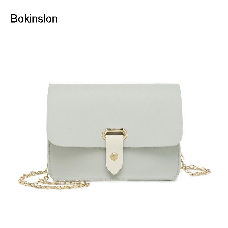 14ea7e807a2b Bokinslon Ретро Crossbody сумка Для женщин мода небольшой свежий PU кожаные  женские сумки на плечо простой сплошной Цвет женские элегантные сумки