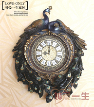 Hot sales peafowl ultra-quiet clocks silent retro relogio de parede wedding home decorations peacock rich vintage wall clocks