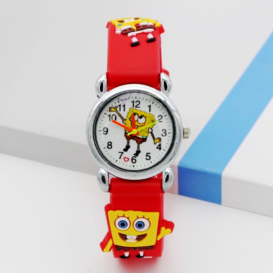 New Arrival 3D Cartoon Silicone Band Children Cartoon Quartz Watches Christmas Gift SpongeBob Watch 1pcs