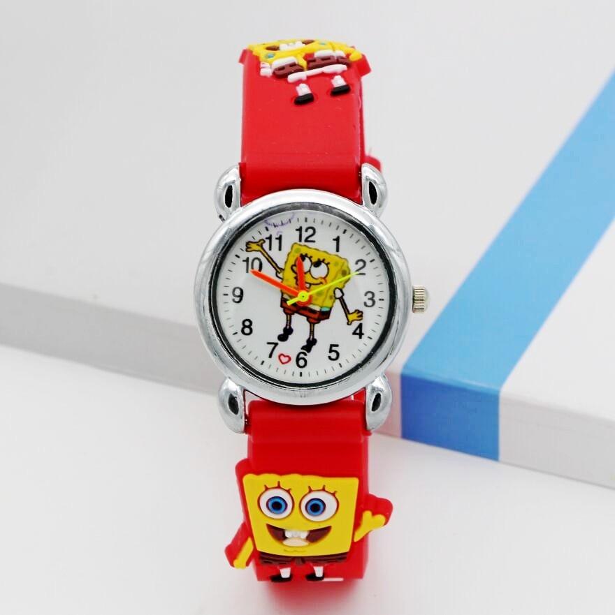 New Arrival 3D Cartoon Silicone Band Children Cartoon Quartz Watches Christmas Gift SpongeBob Watch 1pcs