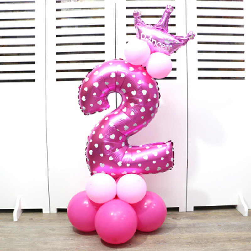 Leeiu 17 Pcs Baby Shower Birthday Decor Number Foil Balloons 1 2 3 4 5 6