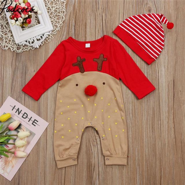 56499f302ccb 3D Cute Xmas Newborn Baby Boys Girls Christmas Rompers Long Sleeve ...