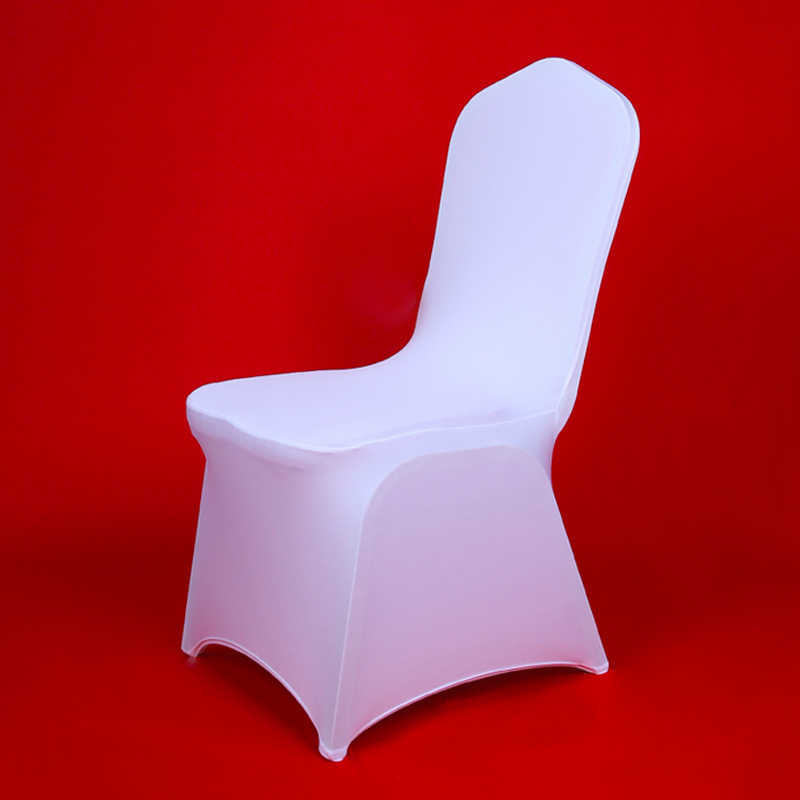 Best 100Pcs Cheap Hotel White Lycra Spandex Chair Covers for Weddings Party Christmas Banquet Dining Office Stretch Chair Cover