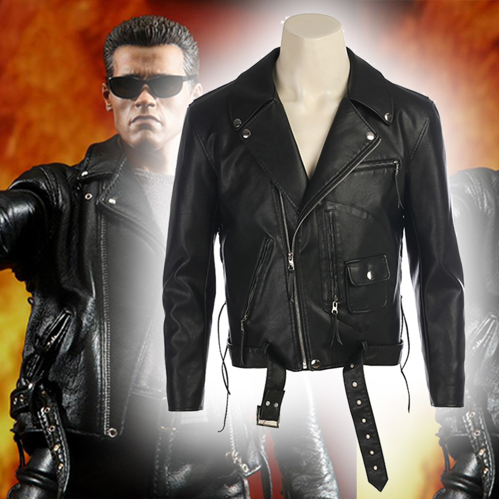New Movie Terminator T-800 Cosplay Costume Black Leather Jacket Performance Costume Men Halloween Costumes For Men Custom Made