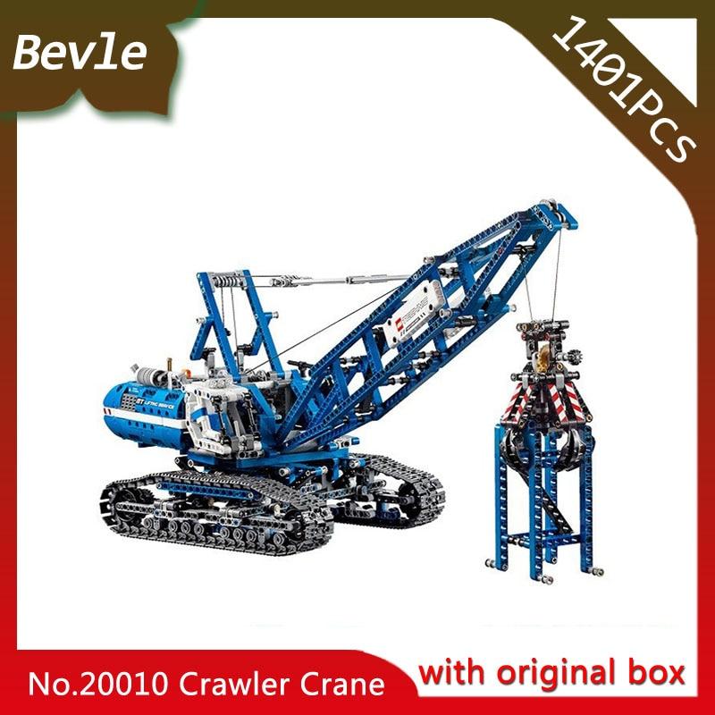 Bevle Store LEPIN 20010 1401Pcs with original box Technic Series Crawler Lifting Crane Building Blocks For Children Toys  42042 ювелирное изделие 20010