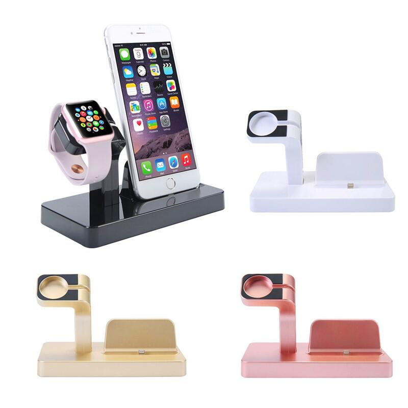 EIMO 2 in 1 Charging Dock Stand Holder For Apple IPhone 7 7 Plus 6S 6 Plus 6S 6 SE 5S Charger Dock For Apple watch charger Gold caseme 2 in 1 movable inner cover metal clip retro split leather case wallet for iphone 6s 6 4 7 brown