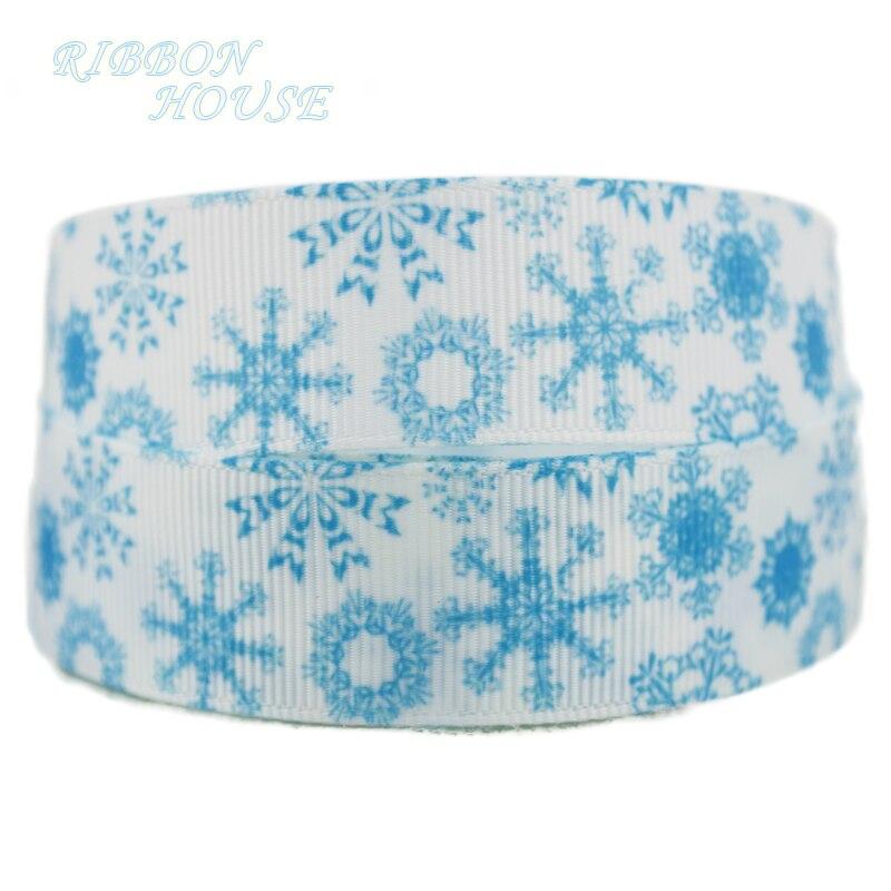22 мм белый и синий Принт Снежинка grosgrain ленты лента для рождественских подарков одежда высшего качества Ленты