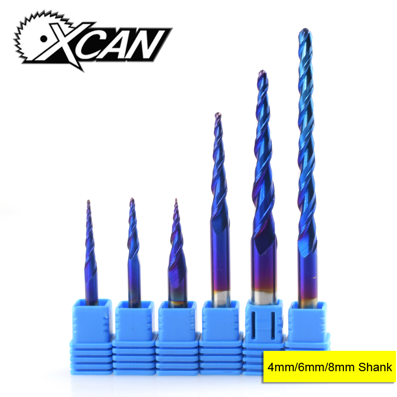 XCAN R0.25-R2.0 Blue Coated 2 Flute Carbide End Mill Mini CNC Router Engraving Bit Tapered Ball Nose Milling Cutter