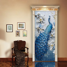 Peacock imitation 3d stereo door sticker Home personality decorative wall stickers PVC self-adhesive waterproof wallpaper