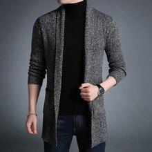 Nueva moda casual largo Outwear primavera otoño suéter negro y gris  poliéster con bolsillo Slim Fit suéter para hombre a3743 297544b6b617