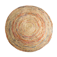 100 Natural Eco Friendly Jute Yarns India Import Hand Knit Round Rug Jute Color Living Room