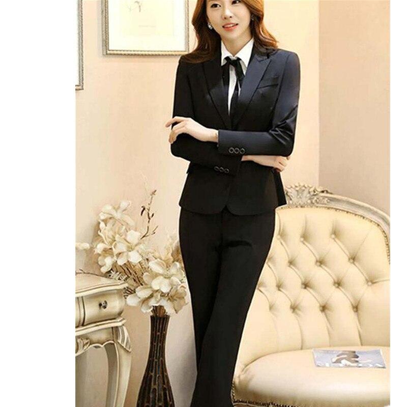 Bureau Costumes Noir Élégant Femmes Pantsuits Pantalon Blazer Travail D'affaires Veste Formelle Ensembles 64gnXOqT