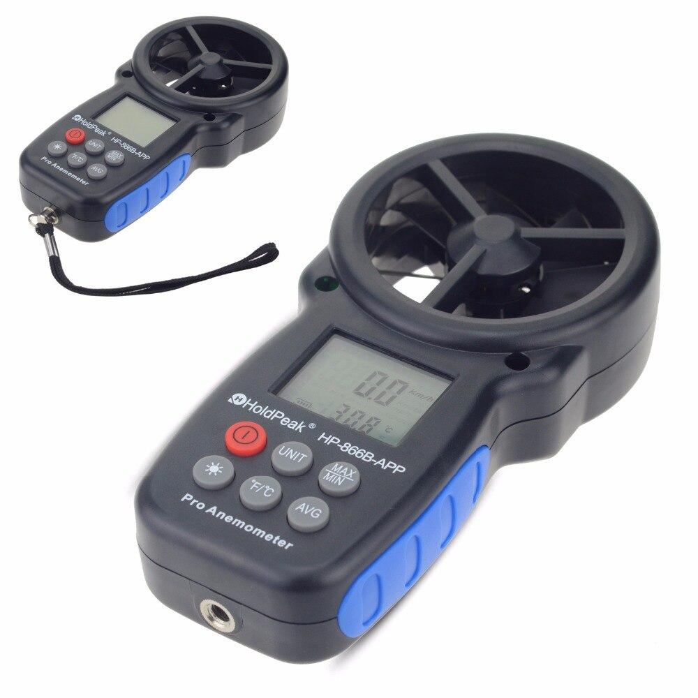 Tools : 0 3 30m s Digital Anemometer With Mobile APP Wind Speed Measurement Meter Measure Temperature Tester toolsHoldPeak HP-866B-APP