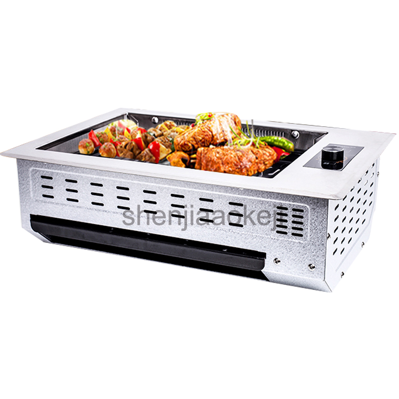 1000w Non-Stick Commercial Infrared Electric Oven Barbecue Grill Machine Infrared Smokeless Barbecue Machine 220v 1pc three groups of kebab ovens commercial electric oven machine