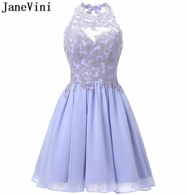 JaneVini Vestidos Cortos Lavender Homecoming Dress Short Chiffon Bridesmaid Dresses With Lace Applique Beaded Juniors Party Gown
