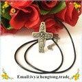 Hot venda livre o navio barato prata do metal da liga católica rosário crucifixo cruz, cabo de cera colar rosário religiosa atacado