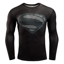 Men Long Sleeve Compression Sports Shirt 3D Printed Superman High Elastic Quick-Dry Gym Fitness Trainning Exercise T-shirts Tops